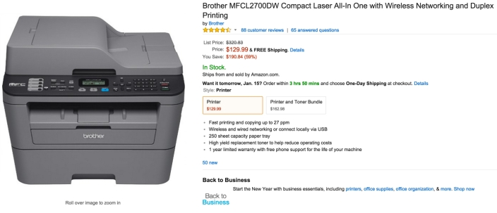 Brother MFCL2700DW Compact Laser All-In One with Wireless Networking