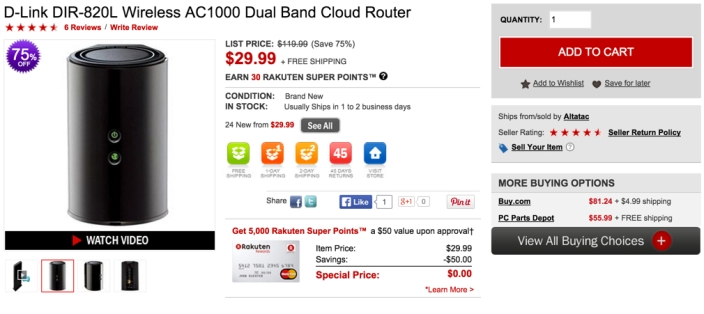 D-Link DIR-820L Wireless AC1000 Dual Band Cloud Router