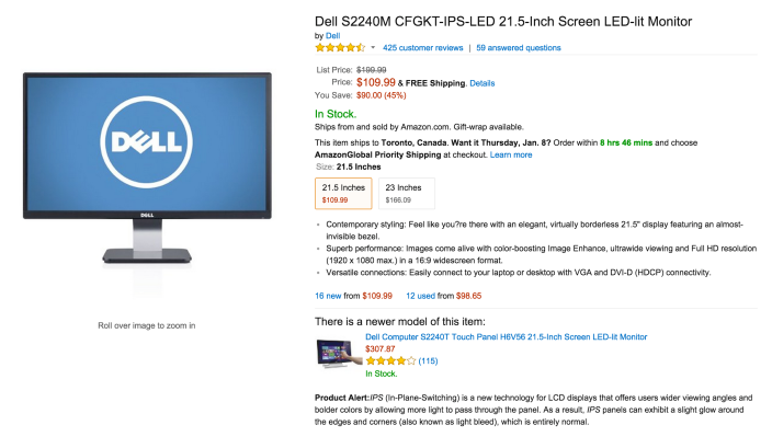 Dell S2240M 21.5-Inch Screen LED-lit Monitor (CFGKT-IPS-LED-02