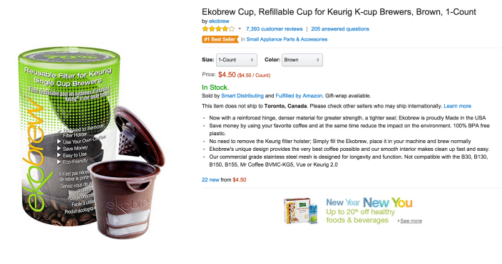 Ekobrew Cup Refillable Cup for Keurig K-cup Brewers-sale-02