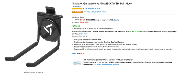 Gladiator GarageWorks Twin Hook-sale-02