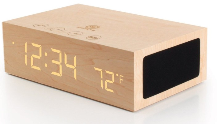 GOgroove BlueSYNC TYM Bluetooth Wireless Stereo Speaker & Wooden Alarm Clock w: LED Time + Temperature Display for Phones, MP3 Players, Tablets, & More