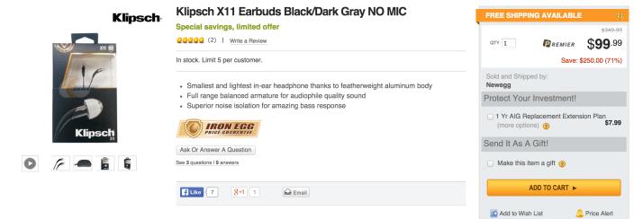 Klipsch X11 Earbuds black:dark grey-sale-01