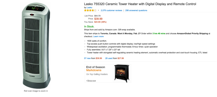 Lasko Ceramic Tower Heater with Digital Display and Remote Control-sale-02