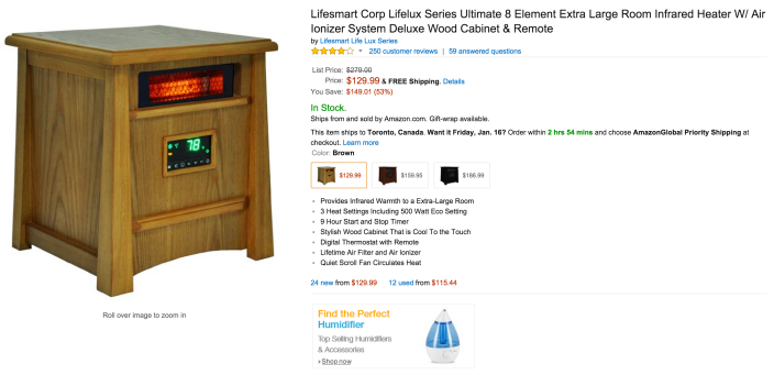 Lifesmart Corp Ultimate 8 Element Extra Infrared Heater W: Air Ionizer System & Remote (LS-8WIQH-LB-IN)-sale-02