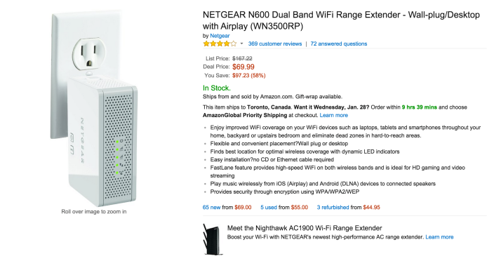 NETGEAR N600 Dual Band WiFi Range Extender - Wall-plug:Desktop with Airplay (WN3500RP-sale-03