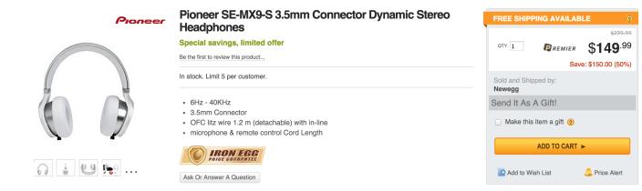 Pioneer SE-MX9-S Headphones-sale-02
