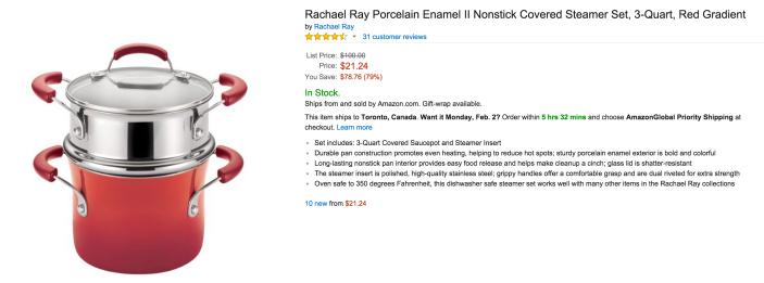 Rachael Ray 3-Quart Porcelain Enamel II Nonstick Covered Steamer Set in Red Gradient-sale-02
