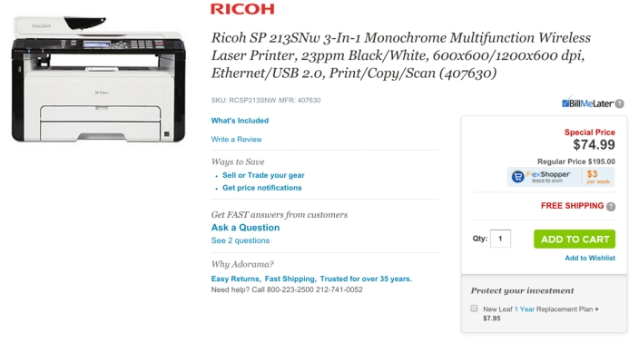 Ricoh SP 213SNw Multifunction Wireless Laser Printer