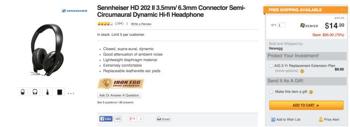 Sennheiser HD 202 II Professional Headphones in black-sale-01