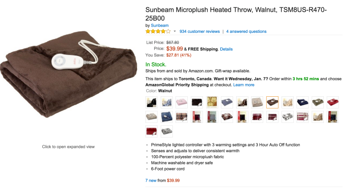 Sunbeam Microplush Heated Throw blanket in Walnut brown (TSM8US-R470-25B00)-sale-02