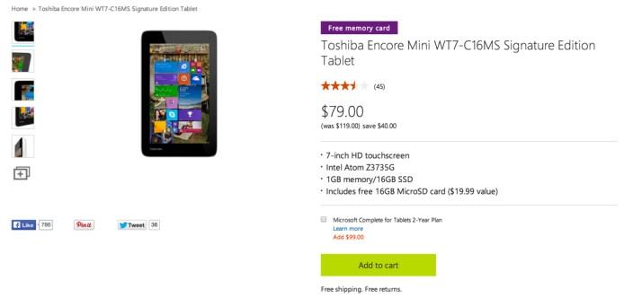 Toshiba Encore Mini WT7-C16MS Signature Edition Tablet