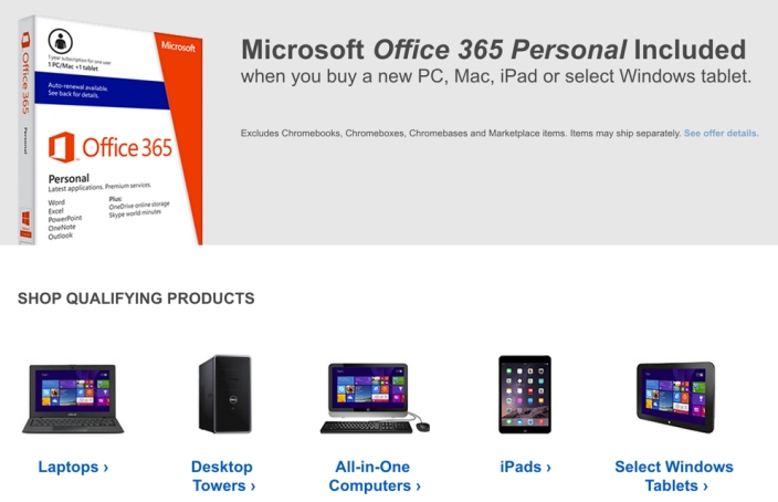 Best Buy offer microsoft office 365