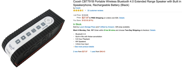 Coosh CBT791B Portable Wireless Bluetooth 4.0 Extended Range Speaker with Built in Speakerphone, Rechargeable Battery (Black)