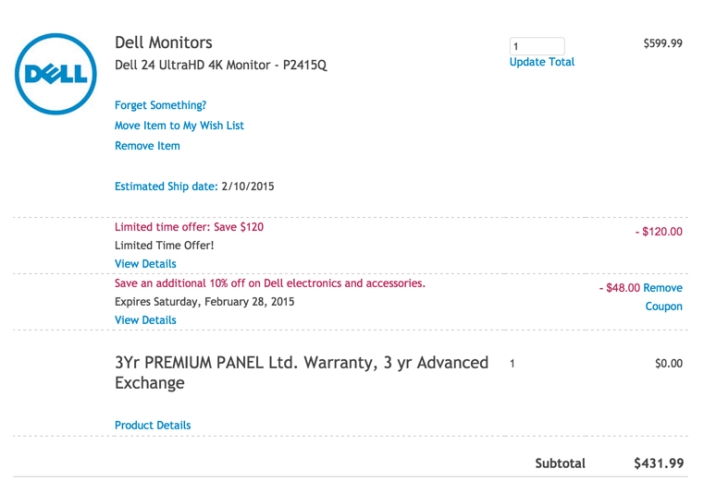 Dell Computer Ultra HD 4K Monitor P2415Q 24-Inch Screen LED-Lit