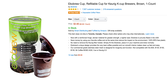 Ekobrew Cup Refillable Cup filter for Keurig K-cup Brewers-sale-02