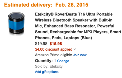 Etekcity® RoverBeats T16 Ultra Portable Wireless Bluetooth Speaker with Built-in Mic, Enhanced Bass Resonator, Powerful Sound, Rechargeable for MP3 Players, Smart Phones, Pads, Laptops