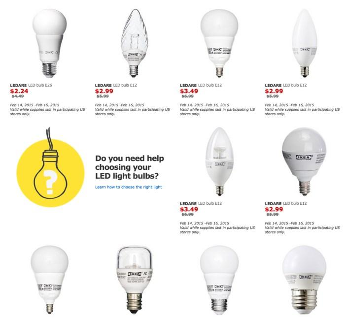 IKEA light bulbs 50% off