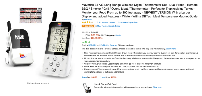 Maverick Long Range Wireless Digital BBQ:Oven Thermometer Set (ET733)-sale-02