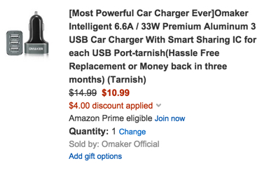 Omaker Premium 3 port USB Car Charger