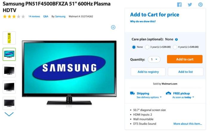 Samsung PN51F4500BFXZA 51%22 600Hz Plasma HDTV