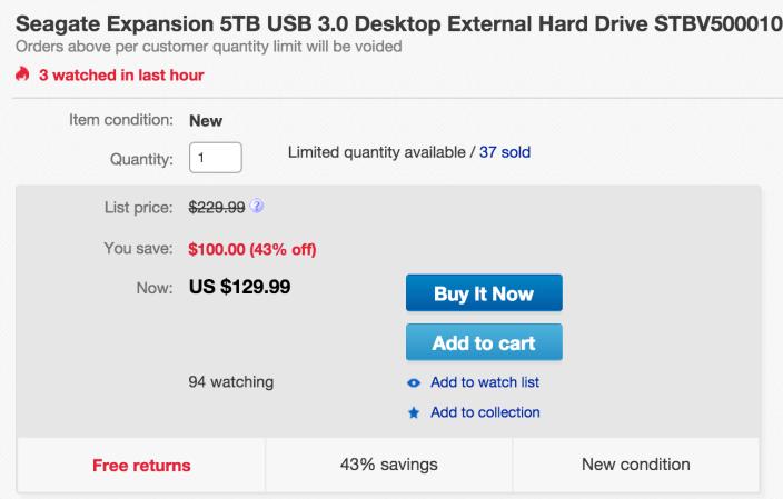 Seagate Expansion 5TB USB 3.0 Desktop External Hard Drive (STBV5000100-sale-02