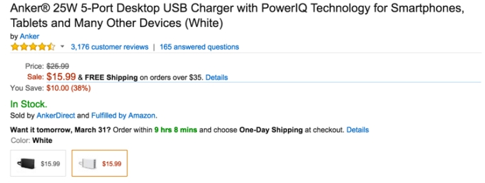 Anker® 25W 5-Port Desktop USB Charger with PowerIQ Technology for Smartphones, Tablets and Many Other Devices
