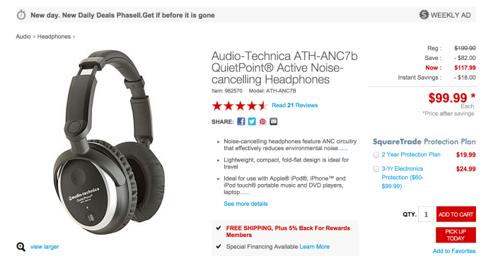 Audio-Technica ATH-ANC7B QuietPoint Active Noise-Cancelling Closed-Back Headphones-sale-01