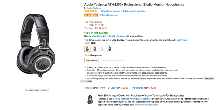 Audio-Technica ATH-M50x Professional Studio Monitor Headphones-Amazon credit