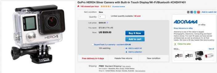 GoPro HERO4 Silver Camera with Built-In Touch Display:Wi-Fi:Bluetooth #CHDHY401