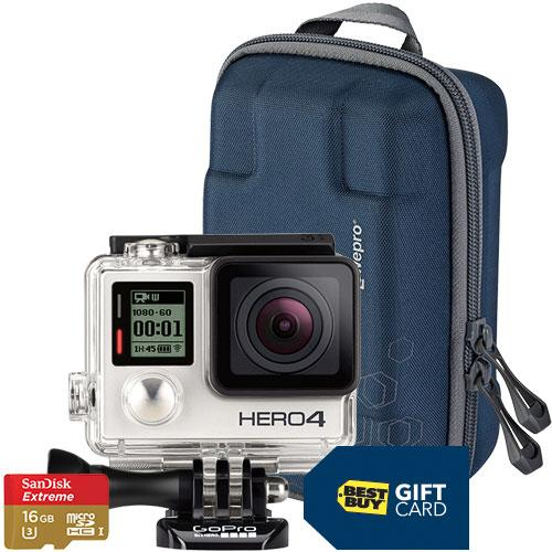 GoPro HERO4 Silver:MOTO Action Camera with Free Camera Case, 16GB Memory Card and $40 Best Buy Gift Card
