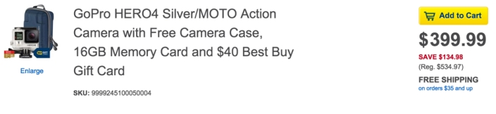 GoPro HERO4 Silver:MOTO Action Camera with Free Camera Case, 16GB Memory Card and $40 Gift Card