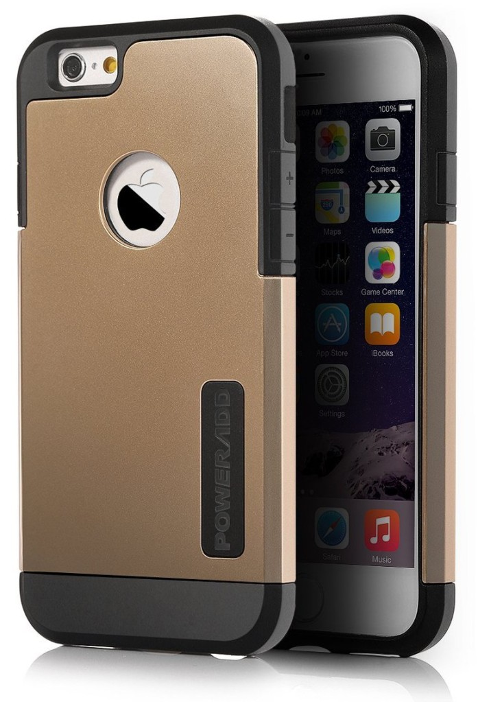 iPhone 6 Case, Poweradd™ Dual Layer (PC+TPU) Protective Case for iPhone 6 (4.7-Inch) with Shock Absorbing and Scratch Resistant - Retail Packaging (Gold)