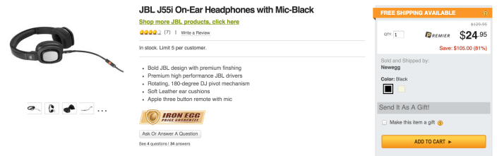 JBL J55i High-Performance On-Ear Headphones