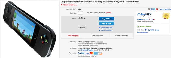 Logitech PowerShell Controller with Battery for iPhone 5:5S and iPod Touch 5th Generation - Black