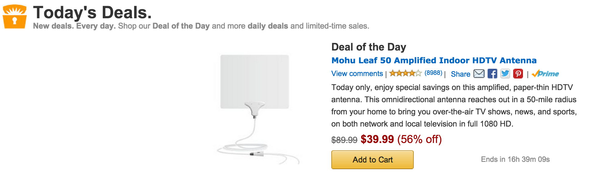Amazon Gold Box Mohu Leaf 50 Amplified Indoor Hdtv Antenna 40