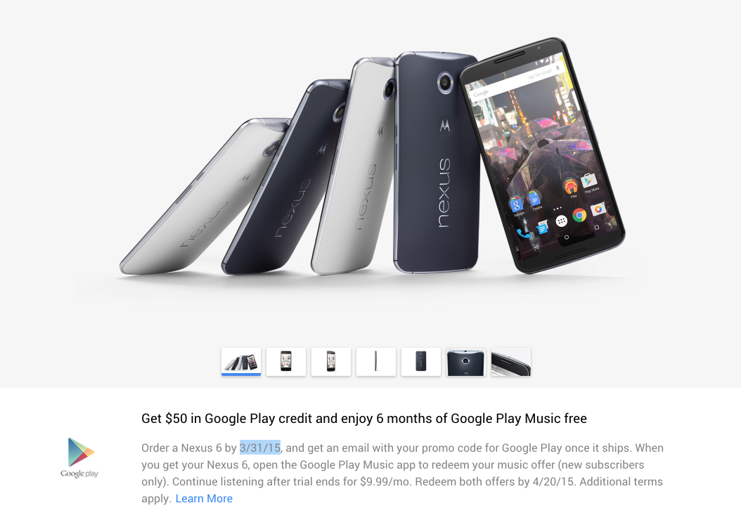 Free $50 Play Store gift card w/ purchase of Nexus 6, Nexus 9, or