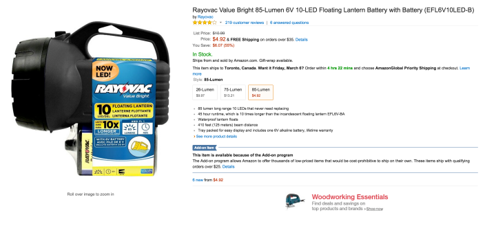 Rayovac Value Bright 85-Lumen 6V 10-LED Floating Lantern Battery with Battery-sale-01
