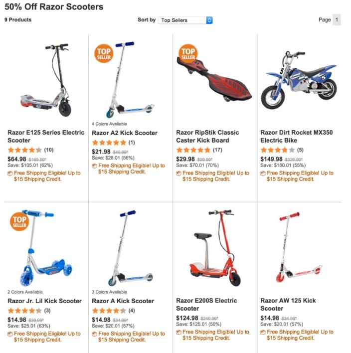 razor scooter sale 50 percent off