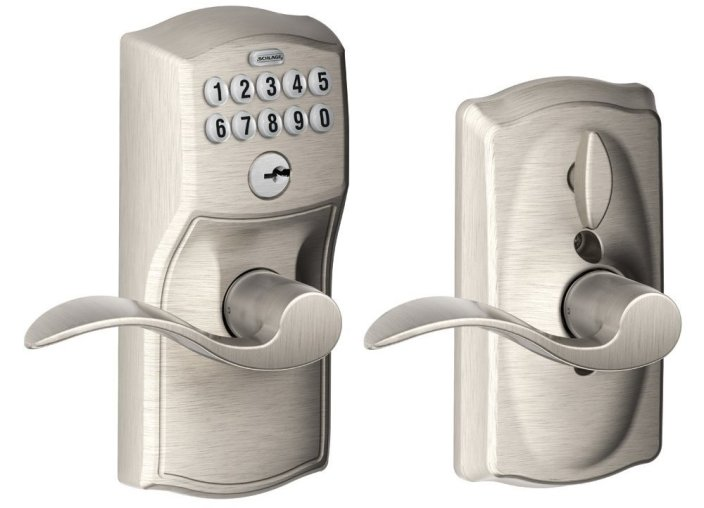 Schlage Camelot Keypad Entry with Flex-Lock and Accent Levers in Satin Nickel-sale-01