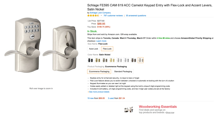 Schlage Camelot Keypad Entry with Flex-Lock and Accent Levers in Satin Nickel-sale-02