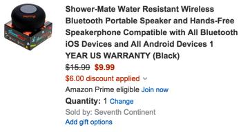 Shower-Mate water resistant Bluetooth speaker mic