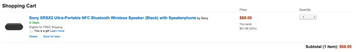 Sony SRSX2 Ultra-Portable NFC Bluetooth Wireless Speaker with Speakerphone in black-SRSX2:BLK-sale-02