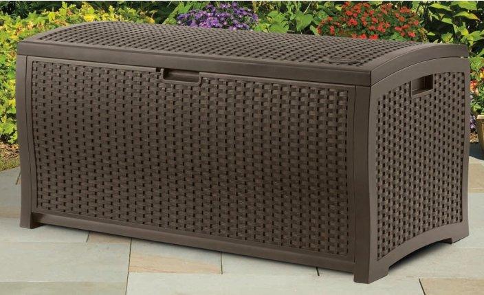 Suncast DBW7300 Mocha Wicker Resin Deck Box, 73-Gallon-sale-01