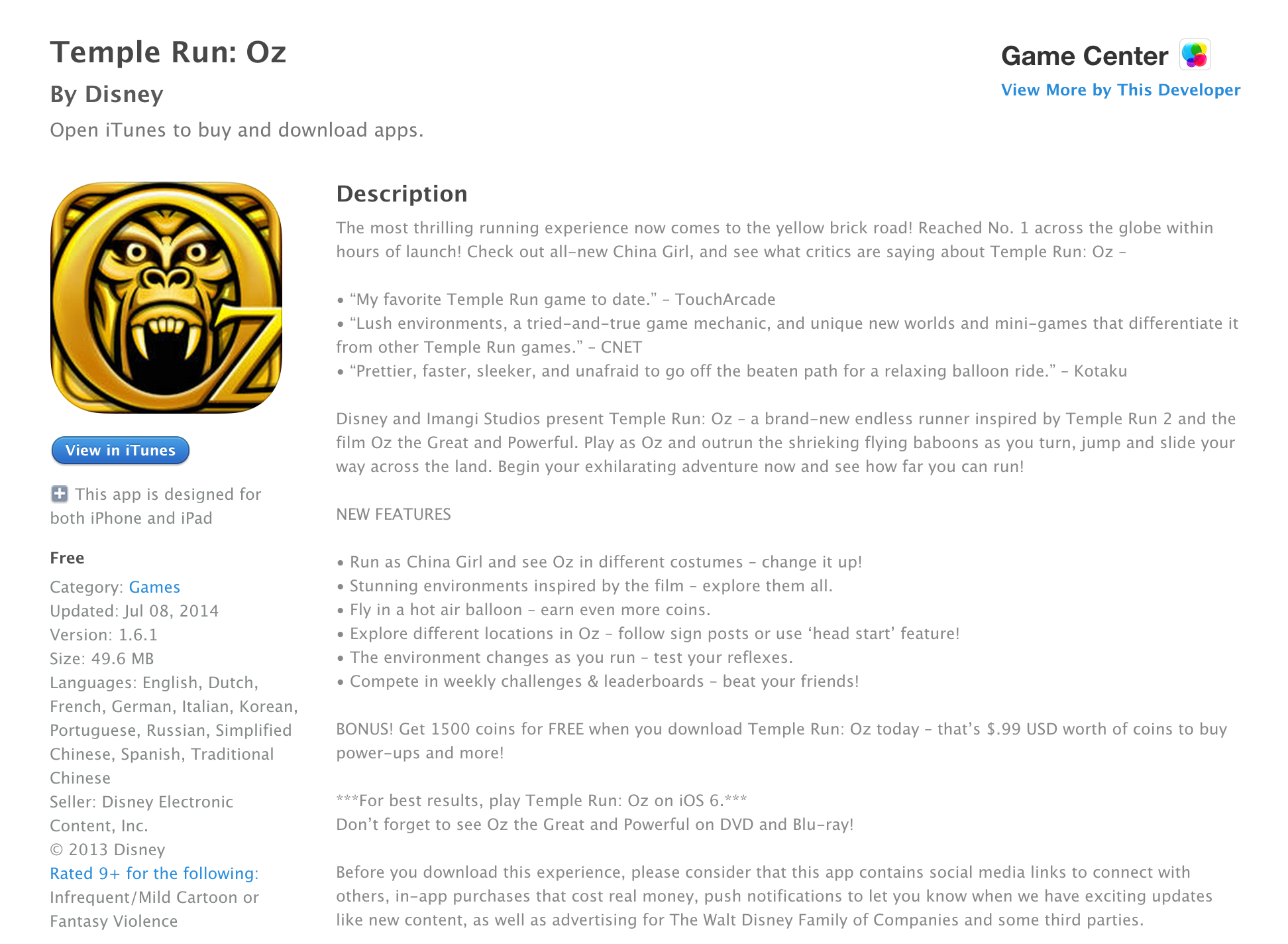 iTunes Free App of the Week - Temple Run: Oz ($1 99 value) - 9to5Toys