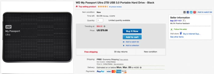 WD My Passport Ultra 2TB USB 3.0 Portable Hard Drive
