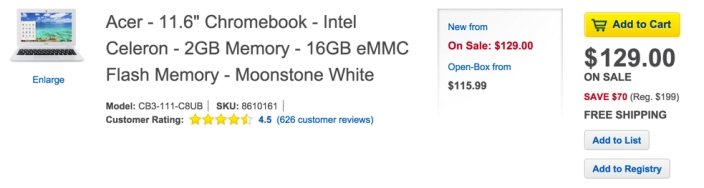 Acer 11.6%22 Chromebook Laptop 2GB 16GB | CB3-111-C8UB