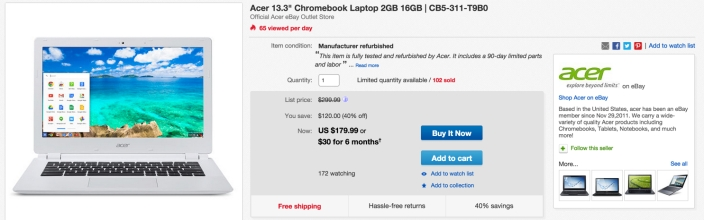 Acer 13.3%22 Chromebook Laptop 2GB 16GB | CB5-311-T9B0