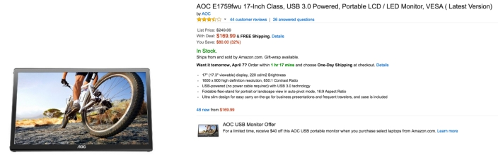 AOC E1759fwu 17-Inch Class, USB 3.0 Powered, Portable LCD : LED Monitor, VESA