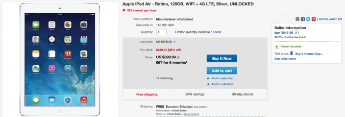 Apple iPad Air - Retina, 128GB, WIFI + 4G LTE, Silver, UNLOCKED